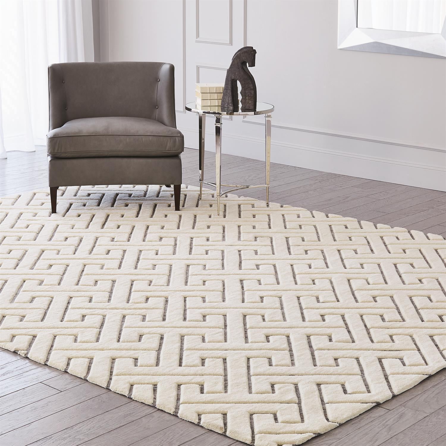 Global Views Tessellating Rug-Ivory/Grey-6' x 9'