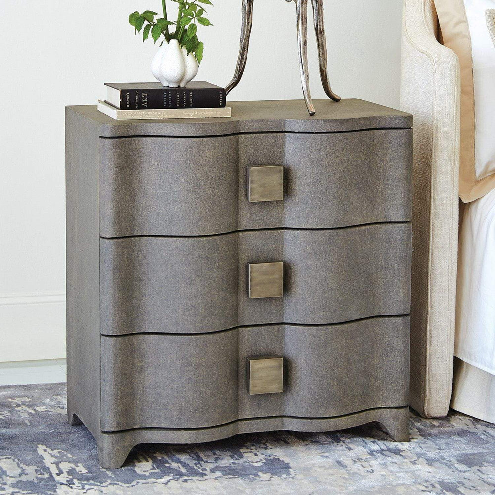 Global Views Toile Linen Bedside Chest-Grey