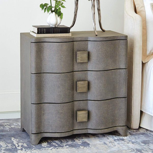 Global Views Home Global Views Toile Linen Bedside Chest-Grey