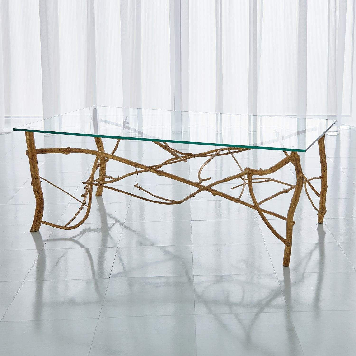 Global Views Twig Cocktail Table-Gold Leaf