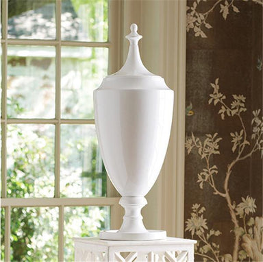 Global Views Home Grande Urn with Lid-White