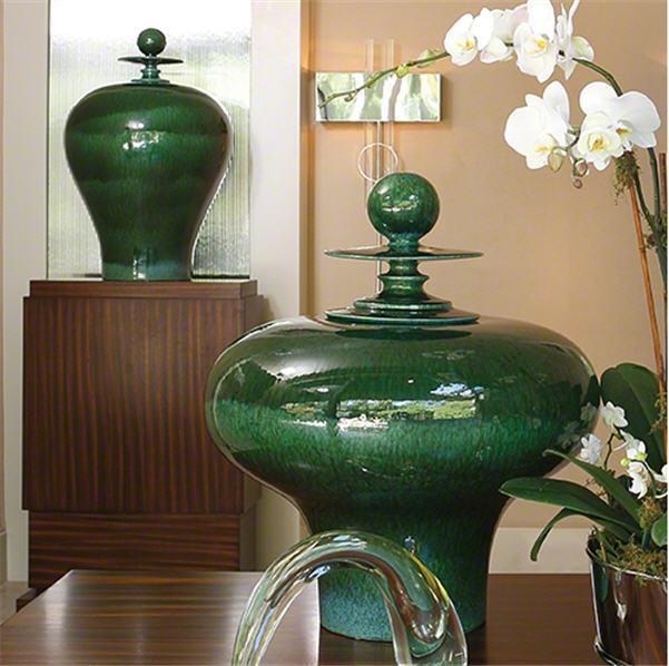 Global Views Home Happy Temple Jar-Emerald-Tall