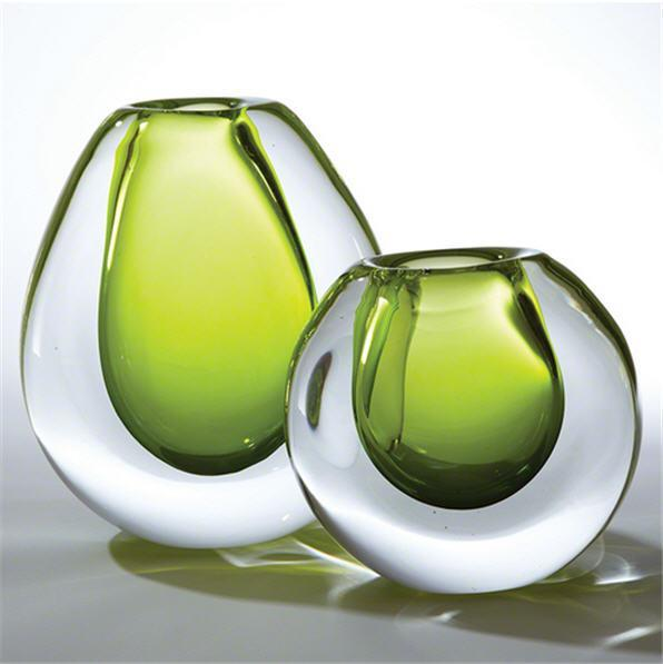 Global Views Art Glass Ice Vase-Limeade-Large