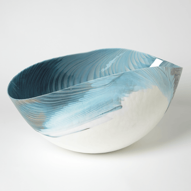 Global Views Home Ivory Turquoise Feather Swirl Oval Bowl-Lg 3.31467
