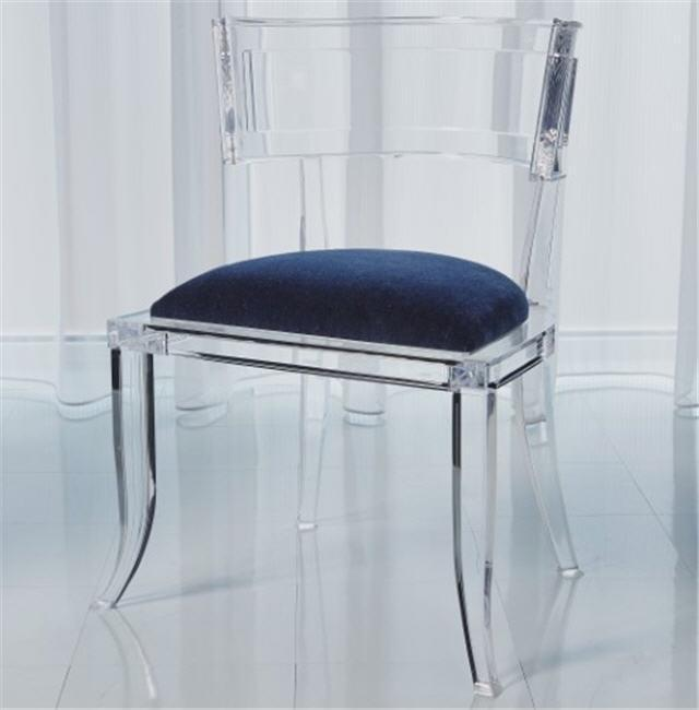 Global Views Furniture Klismos Acrylic Chair-Admiral Blue