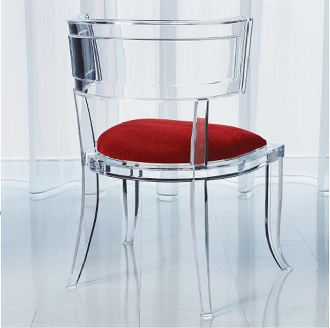 Global Views Furniture Klismos Acrylic Chair-Red Pepper