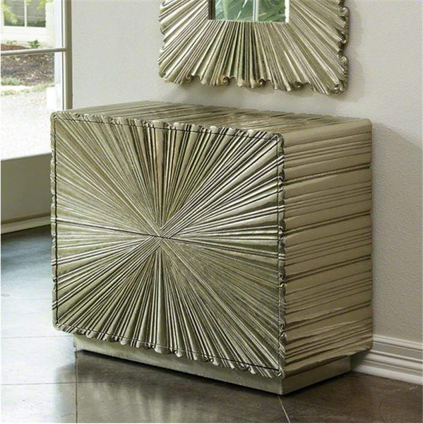 Global Views Furniture Linen Fold 2 Drawer Chest-Silver