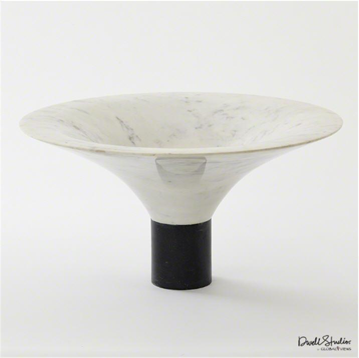 Global Views Home Marble Flared Bowl-White