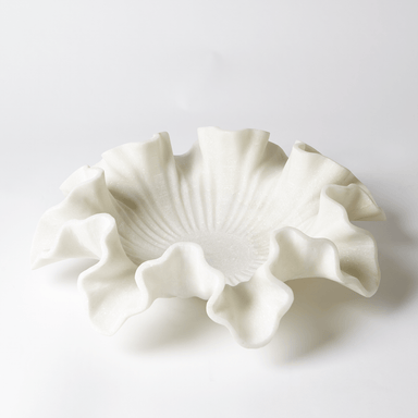 Global Views Home Marble Ruffle Bowl-White-Lg 9.93037