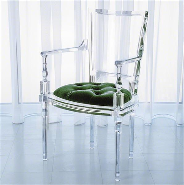 Global Views Furniture Marilyn Acrylic Arm Chair-Emerald Green