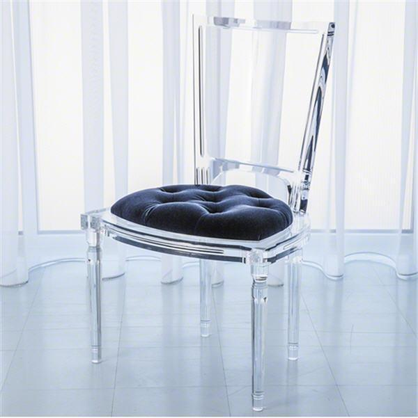 Global Views Furniture Marilyn Acrylic Side Chair-Admiral Blue
