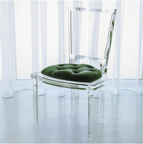 Global Views Furniture Marilyn Acrylic Side Chair-Emerald Green