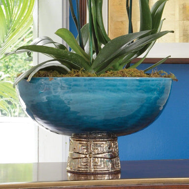 Global Views Home Maze Compote-Cobalt/Antique Gold