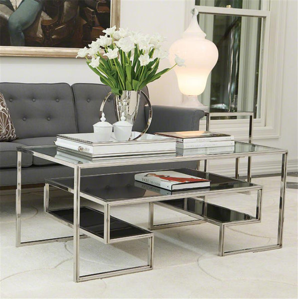 Global Views Furniture One-Up Cocktail Table-Stainless Steel Finish