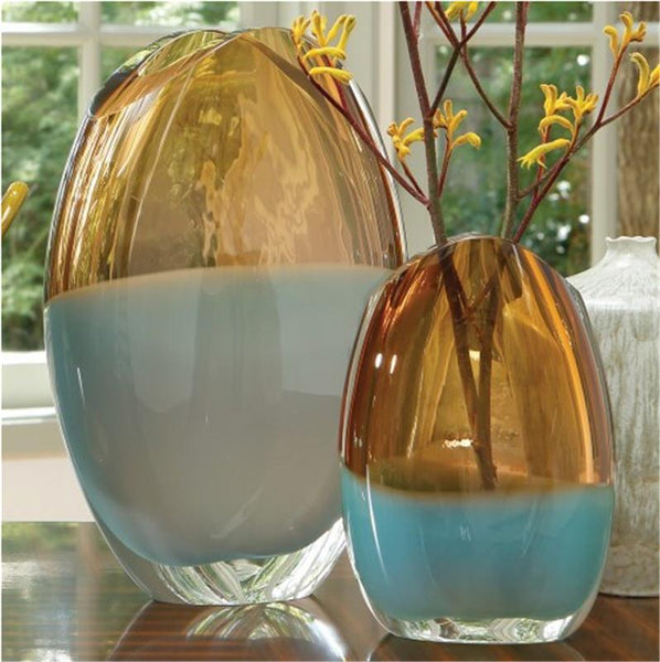 Global Views Art Glass Oval Vase-Pistachio Amber-Large