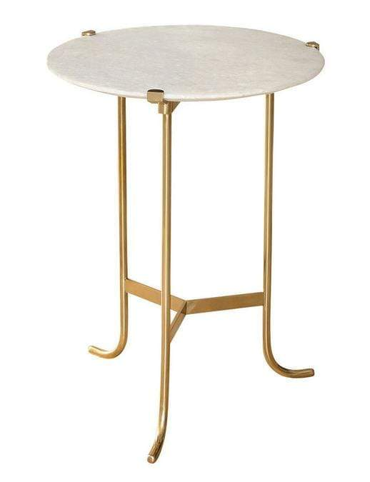 Global Views Furniture Plié Table-Polished Brass/White Honed Marble