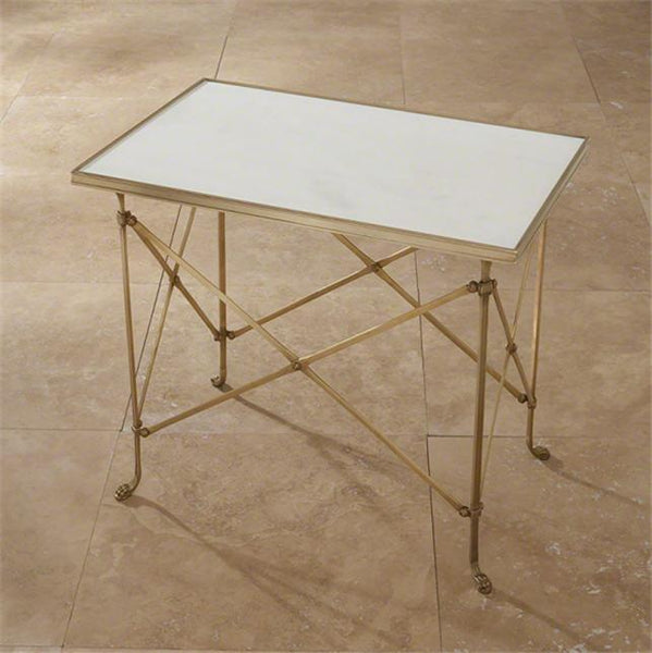 Global Views Furniture Rectangular Directoire Table-Brass & White Marble