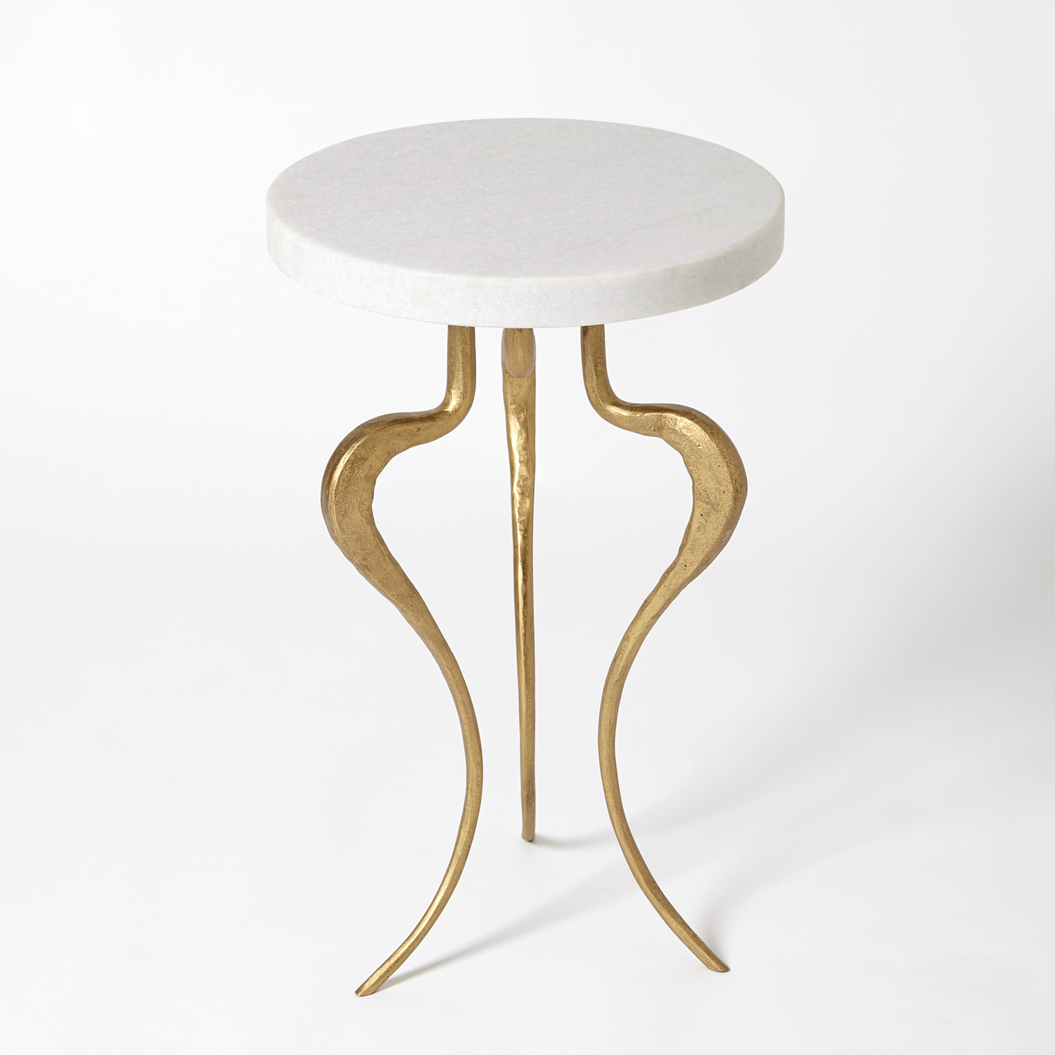 - Global Views Silhouette Accent Table-Antique Gold W/White Honed