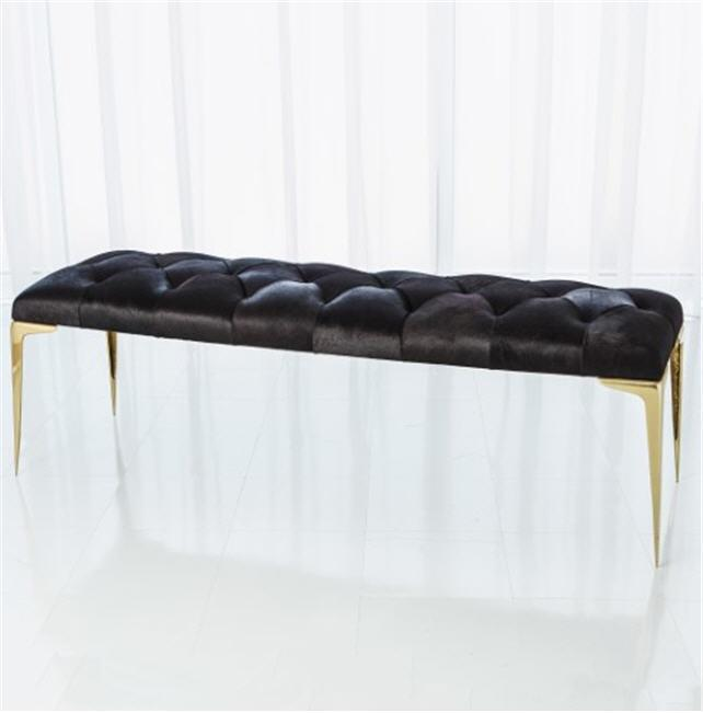 Global Views Furniture Stiletto Bench-Black Hair-on-Hide