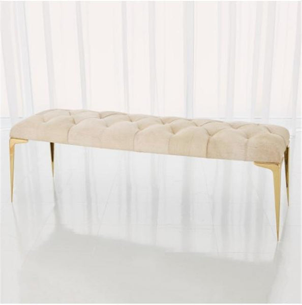 Global Views Furniture Stiletto Bench-White Hair-on-Hide
