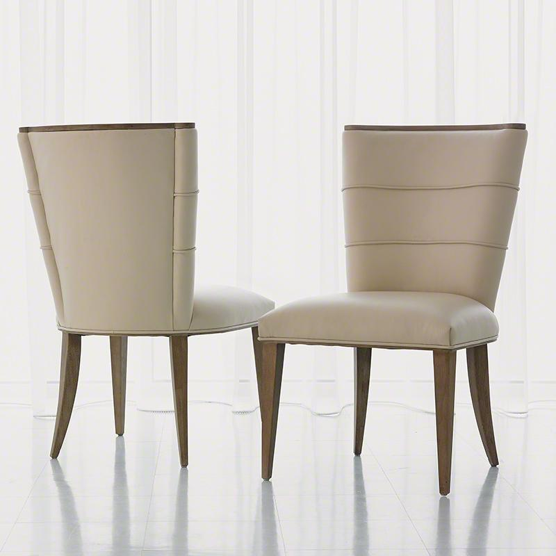 Global Views Furniture Studio-A by Adelaide Side Chair-Beige Leather