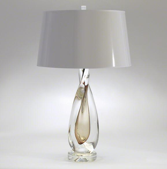 Global Views Lighting Studio-A by Amber Twisted Art Glass Lamp W/Silk Shade