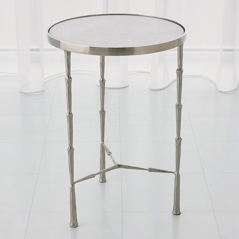 Global Views Furniture Studio-A by Spike Accent Table-Antique Nickel w/White Marble Top