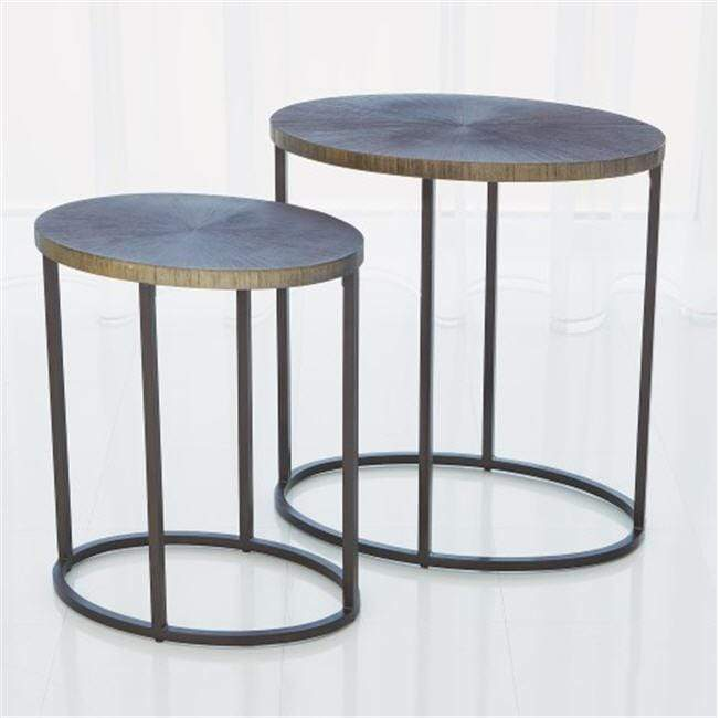 Global Views Furniture Studio-A by Striated Accent Table-Graphite-Large