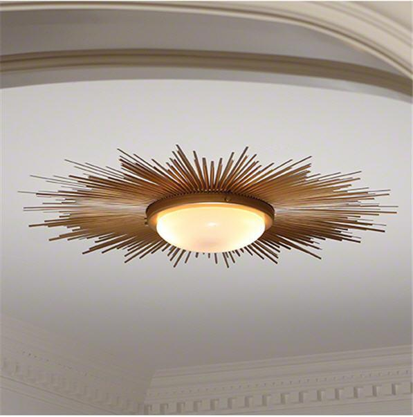 Global Views Lighting Sunburst Light Fixture-Gold