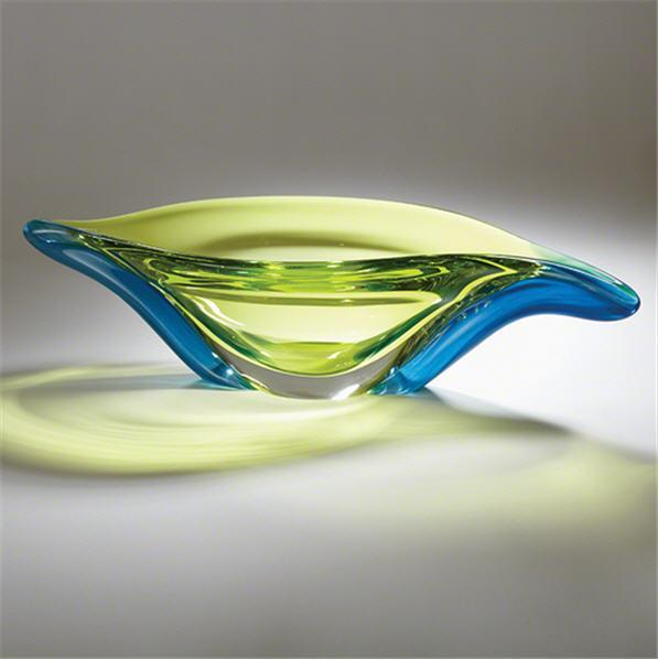 Global Views Art Glass Swish Bowl-Aqua/Lime