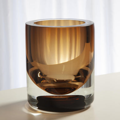 Global Views Home Thick Cylinder Vase-Amber Tobacco-Sm 6.60432