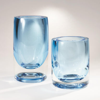 Global Views Home Thick Cylinder Vase-Powder Blue/Light Blue-Sm 6.60440