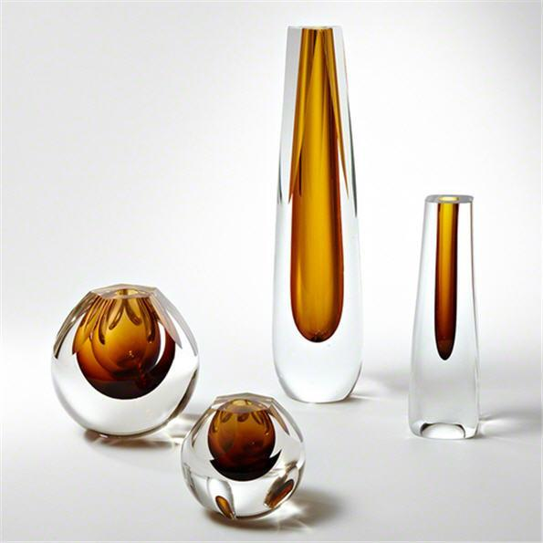 Global Views Art Glass Triangle Cut Glass Vase-Amber