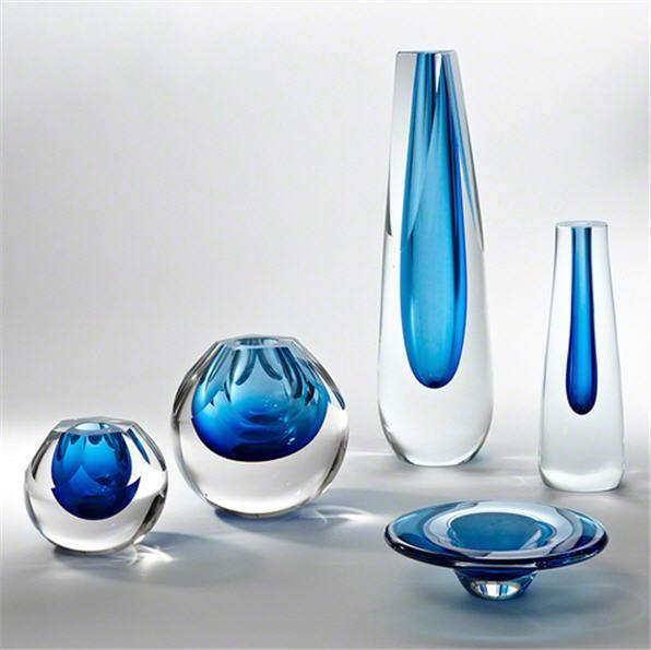 Global Views Art Glass Triangle Cut Glass Vase-Cobalt-Tall