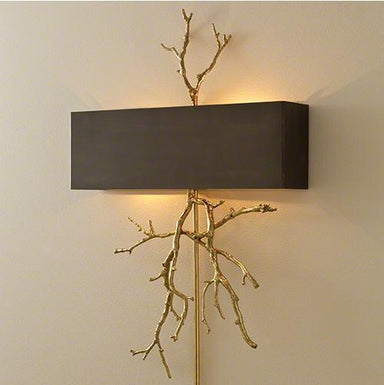 Global Views Lighting Twig Electrified Wall Sconce-Brass on Brass w/Bronze Shade