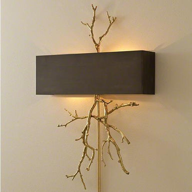 Global Views Lighting Twig Hardwired Wall Sconce-Brass on Brass W/Bronze Shade