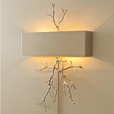 Global Views Lighting Twig Hardwired Wall Sconce-Nickel