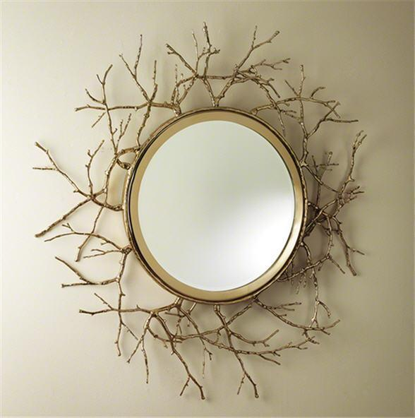 Global Views Home Twig Mirror-Brass