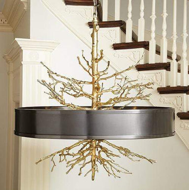 Global Views Lighting Twig Pendant-Brass on Brass W/Bronze Shade