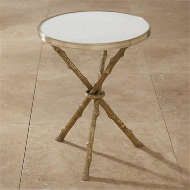 Global Views Furniture Twig Table-Brass & White Marble