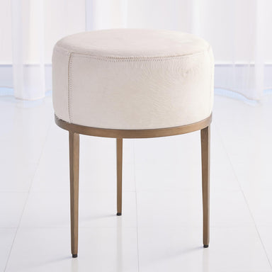 Global Views Home Urban Stool w/Ivory Hair-on-Hide-Antique Brass 7.91091
