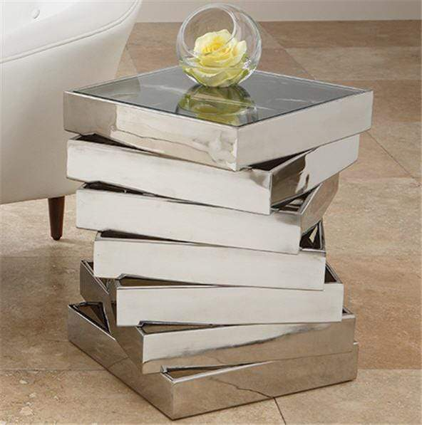 Global Views Furniture Vortex Table-Stainless Steel