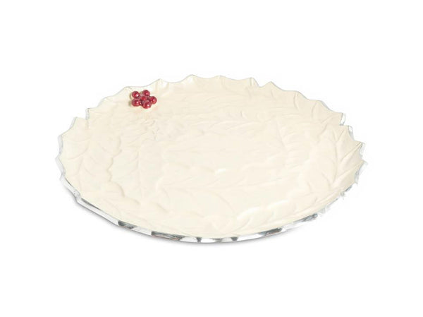 "Julia Knight Serveware Julia Knight Holly Sprig 13"" Round Platter Snow"