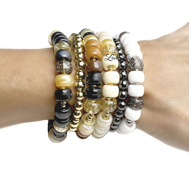 Love, Lisa Jewelry Love, Lisa - Ivory Cashmere Glam Beaded Stretch Bracelet