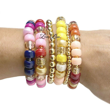 Love, Lisa Jewelry Love, Lisa - Mulberry Delight Glam Beaded Stretch Bracelet