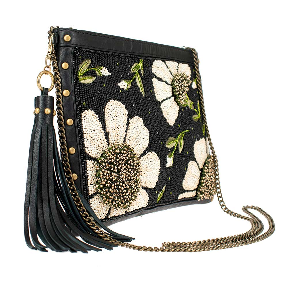 Mary Frances Handbags Mary Frances Sunshine & Daisies Beaded Leather Crossbody Handbag