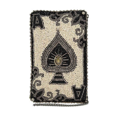 Mary Frances Handbags Mary Frances You're Aces Ace of Spades Beaded Crossbody Phone Bag Purse, Ivory
