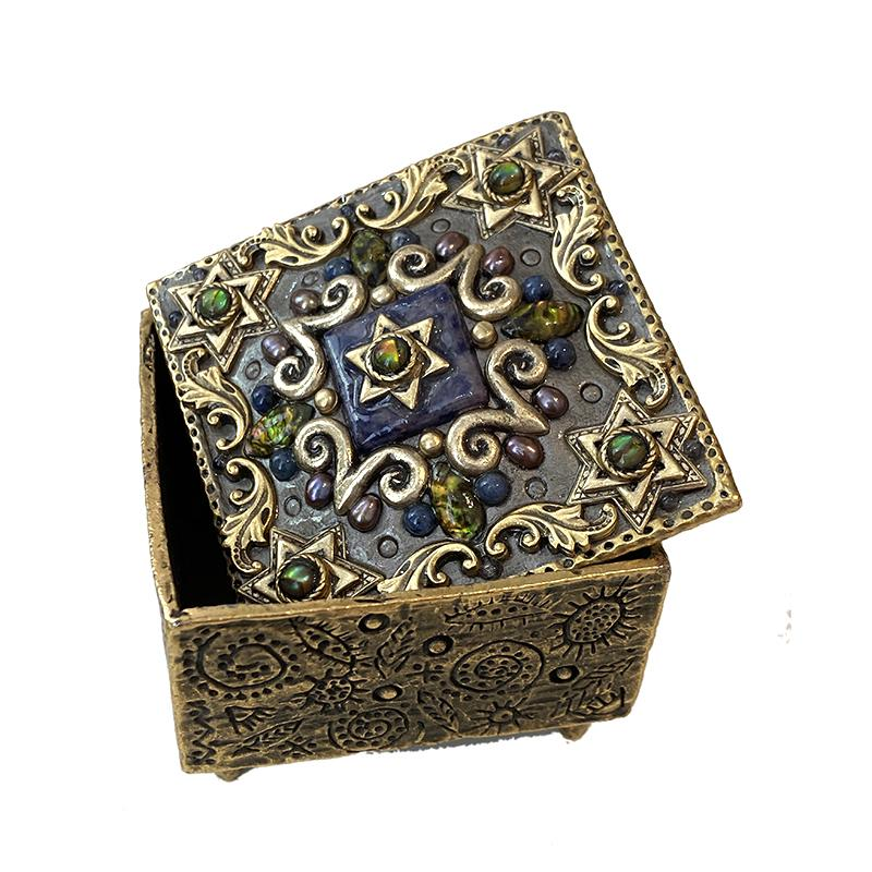 Michal Golan Abalone and Sodalite Star of David Jewelry Box
