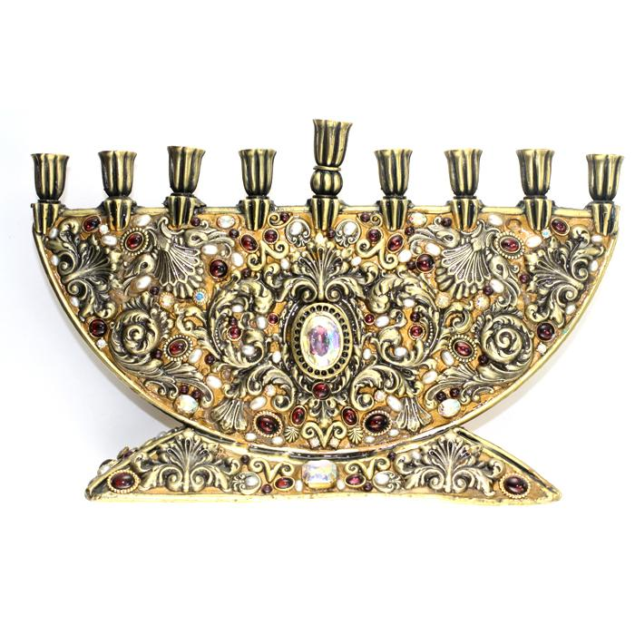 Michal Golan Menorah Extravagant scroll and feather metal work