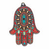 Shop The Addison Judaica Michal Golan Coral and Turquoise Wall Hamsa